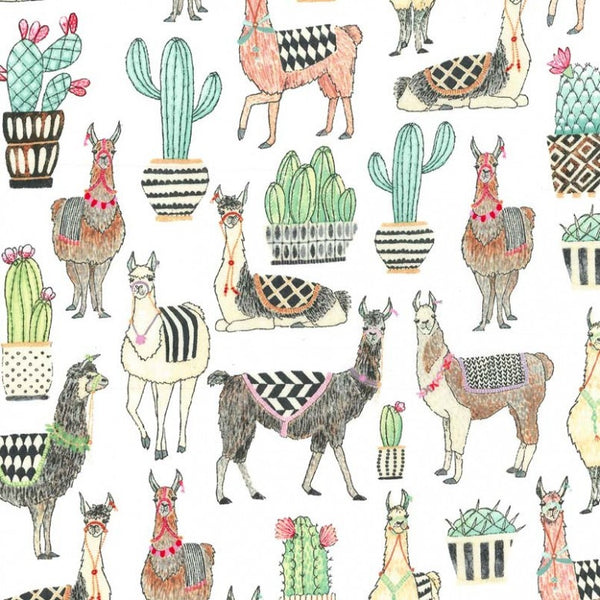Lovely Llamas - Lovely Llamas (White) | Broadcloth
