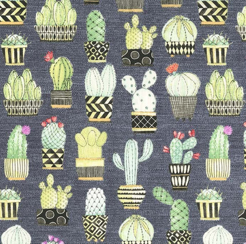 Lovely Llamas - Cactus Hoedown (Gray) | Broadcloth