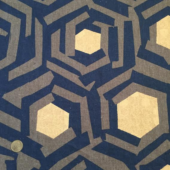 Hokkoh - Hexagonal Dreamscape (Navy)│Canvas