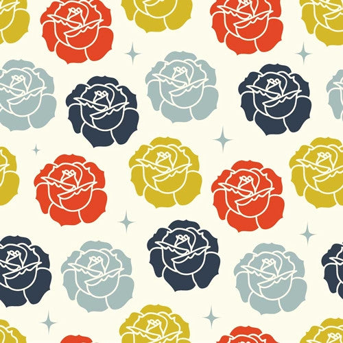 Tall Tales - Stamped Rose (Cream) | Broadcloth