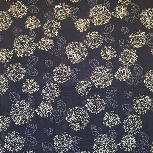 Tréfle - Geometric Flowers (Navy) | Double Gauze