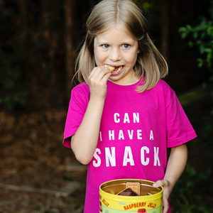 Can I Have A Snack Hot Pink Organic Kids Tee (bestseller!)