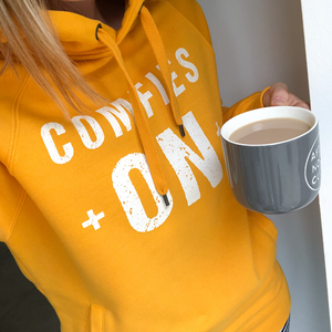 Comfies On Bold Yellow Cotton-Rich Hoodie - UNISEX