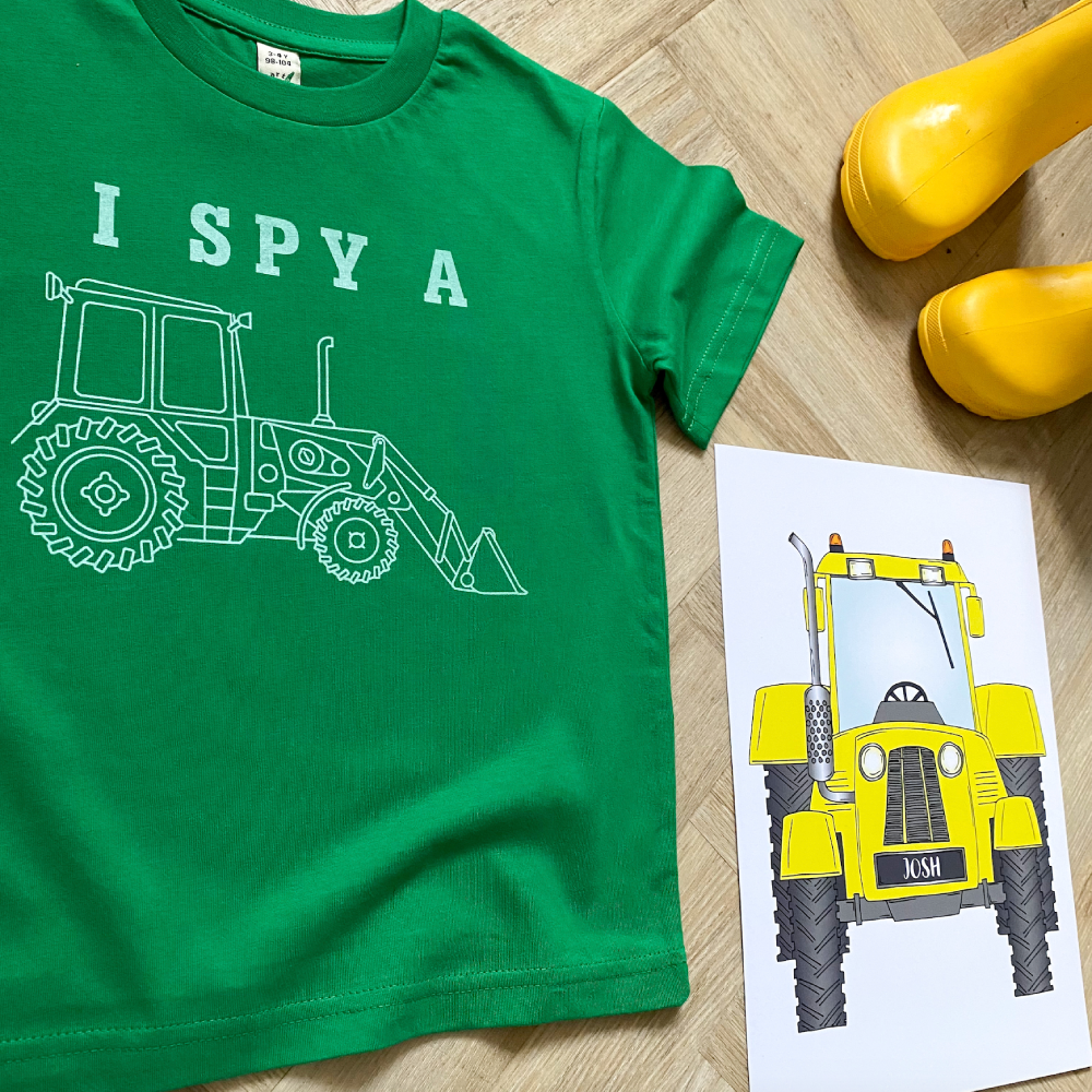 I Spy a Tractor Bright Green Organic Kids Tee