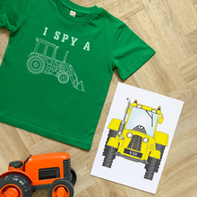 Load image into Gallery viewer, I Spy a Tractor Bright Green Organic Kids Tee