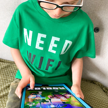 Load image into Gallery viewer, Need WIFI Bright Green Organic Tee - KIDS