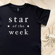Load image into Gallery viewer, Star of the Week Black Organic Kids Tee