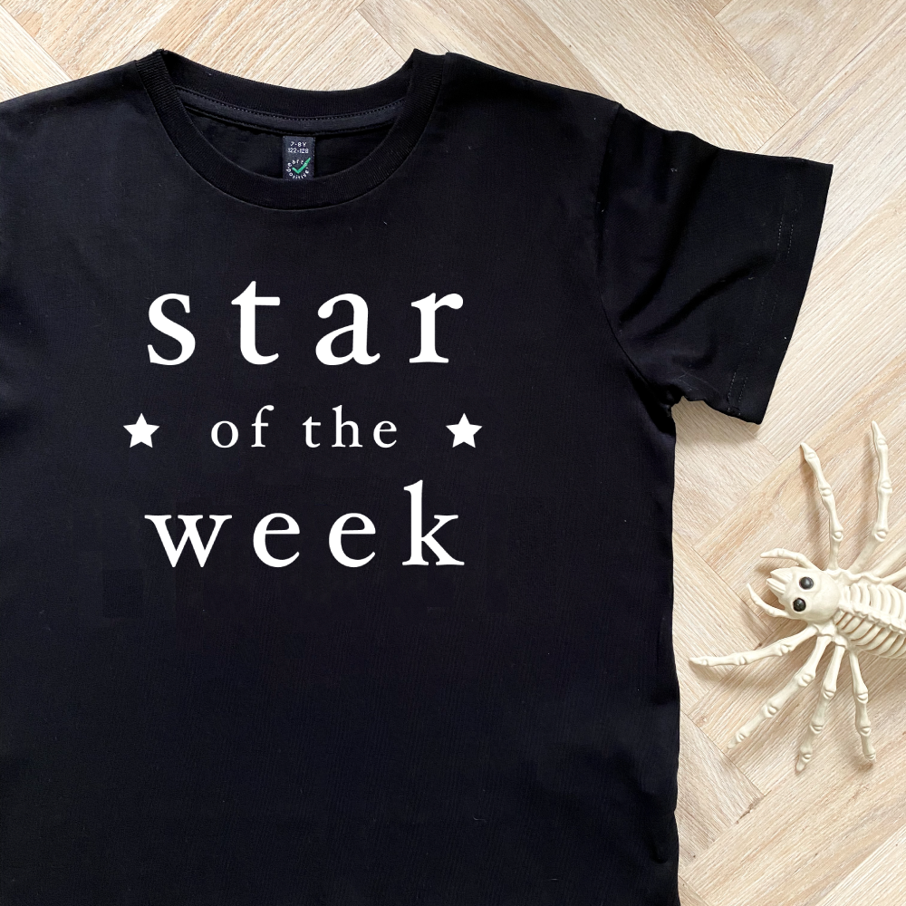 Star of the Week Black Organic Kids Tee