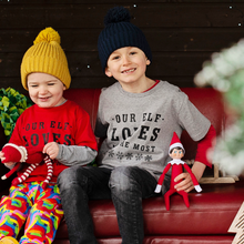 Load image into Gallery viewer, Our Elf Loves Me Most Grey Organic Tee - KIDS