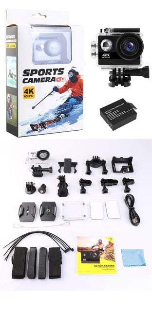 4K Action Camera Ultra HD 4K 60fps 24MP Wifi Sport Camera 2.0'' IPS Screen 170D Wide Angel Go Waterproof Pro Sports Video Camera