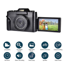 Load image into Gallery viewer, Digital Camera HD IPS Screen Video 30.0MP Camera Portable 16x Kids Digital Zoom Photo Camera Supports The External Lens And Mic