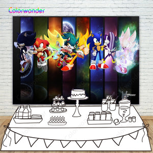 Sonic Hedgehog Themed Photo Background Baby Shower Photo Booth Studio Props Supplies Boys Girls Birthday Party Banner Decoration