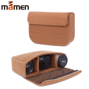 MAMEN 34*22*9cm Camera Bag Padded Shockproof Protective Case For Canon Nikon DSLR Camera/Lens Photo Bag Photography Accessories