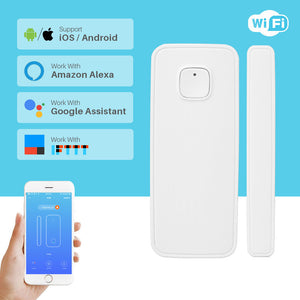 Wireless WiFi Door Alarm Window Sensor Detector Smart Home Security Door Magnetic Switch System Amazon Alexa App Control