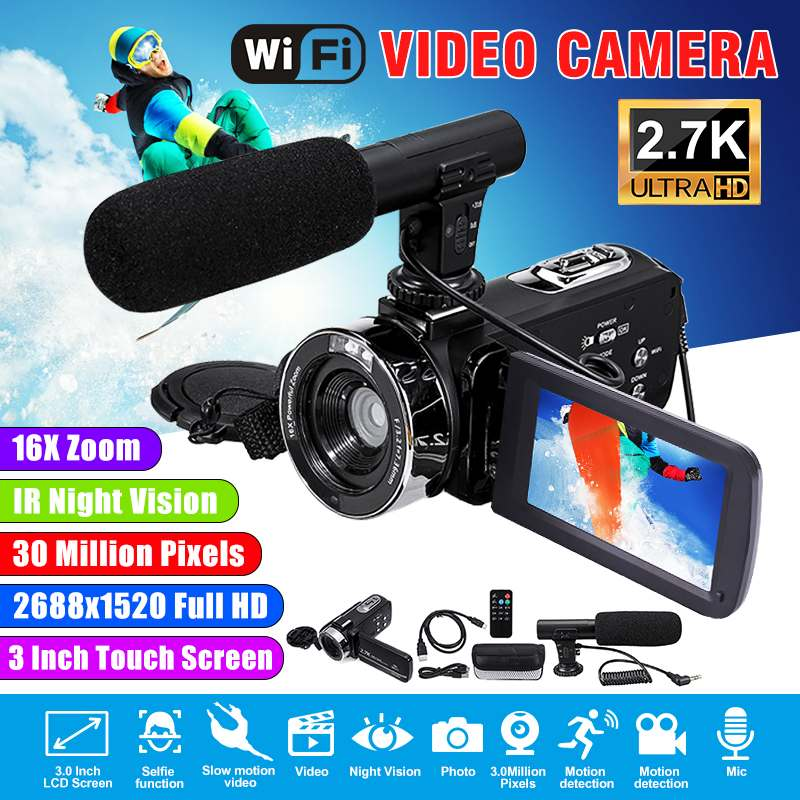 2.7K Camcorder Video Camera Wifi IR Night Vision 30MP 3.0 Inch LCD Screen Time-lapse Photography Camera Fotografica With Mic