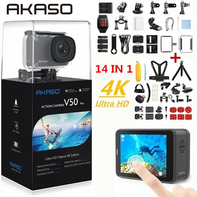 AKASO Action Camera V50 PRO 4K 30FPS Touch Screen WiFi Remote Control Sports Video Camcorder DVR DV go Waterproof pro Camera