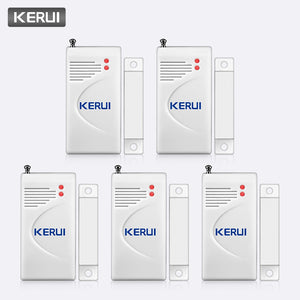 KERUI 5PCS Wireless Burglar Alarm Magnetic Sensor Smart Security Door Window Sensor Detector for GSM 433MHz Home Alarm System