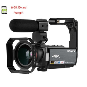 Video Camera 4K Digital Camcorder Full HD ORDRO AE8 Night Vision wifi 3.0 IPS Touch Screen Filmadora Vlog Camera