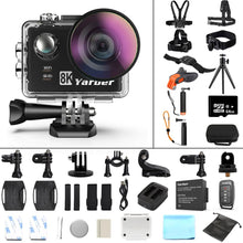 Load image into Gallery viewer, Yarber 8K Action Sports Camera WIFI 4K 60fps Bicycle Helmet Action Cameras 40M Waterproof Diving Video Dash Cam with Remote APP