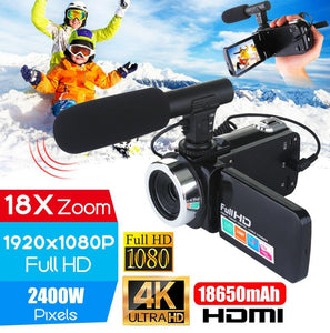 Professional 4K HD Camcorder Video Camera Night Vision 3.0 Inch LCD Screen Camera 18x Digital Zoom Camera with Microphone