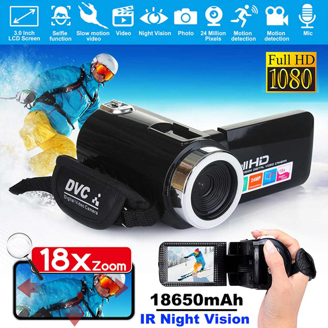 1080P HD Camcorder Video Camera 24MP IR Night Vision 3.0 Inch LCD Screen 18X Digital Zoom Camera Fotografica DV Camcorder