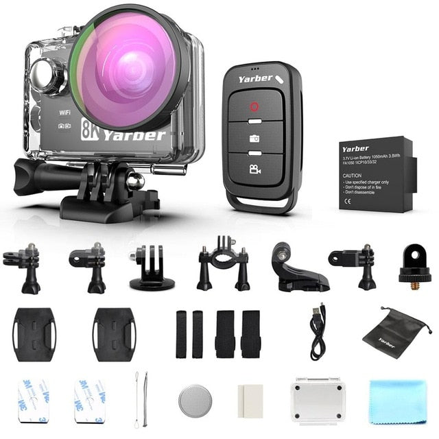 Yarber 8K Sports Action Camera 4K 40M Underwater Waterproof WIFI Bicycle Helmet Camara 20MP Action Cam APP Remote Voice Control
