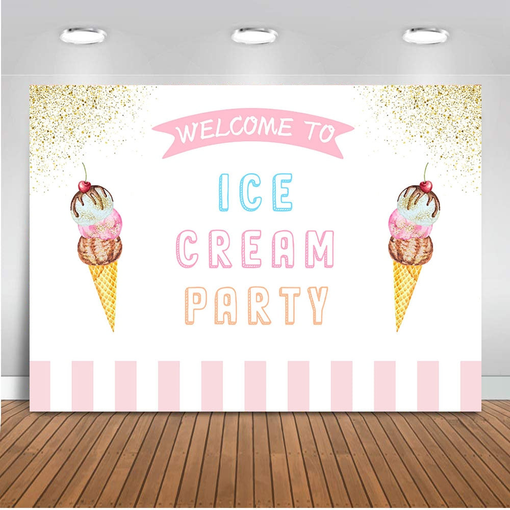 Ice Cream Party Decoration Supplies Newborn Baby Backdrop for Photography Video Birthday Theme Background for Photo Studio