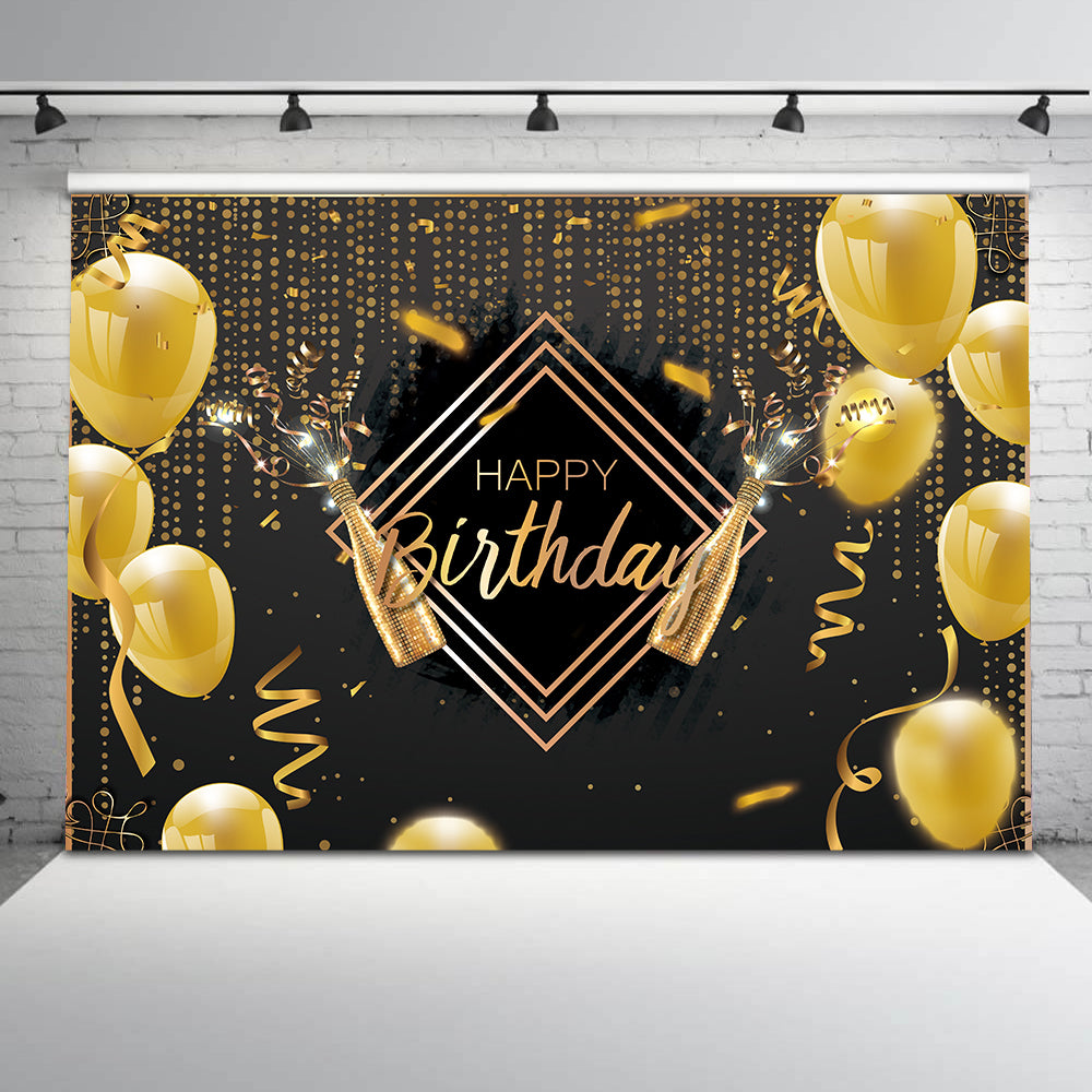 Photography backdrop Happy birthday graduation champagne party decoration background for photo studio gold supplies for photogra