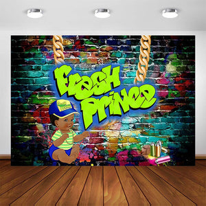 Fresh Prince Party Backdrop Graffiti Wall The Fresh Prince Baby Shower 80s 90s Photo Background Photography Studio Supplies