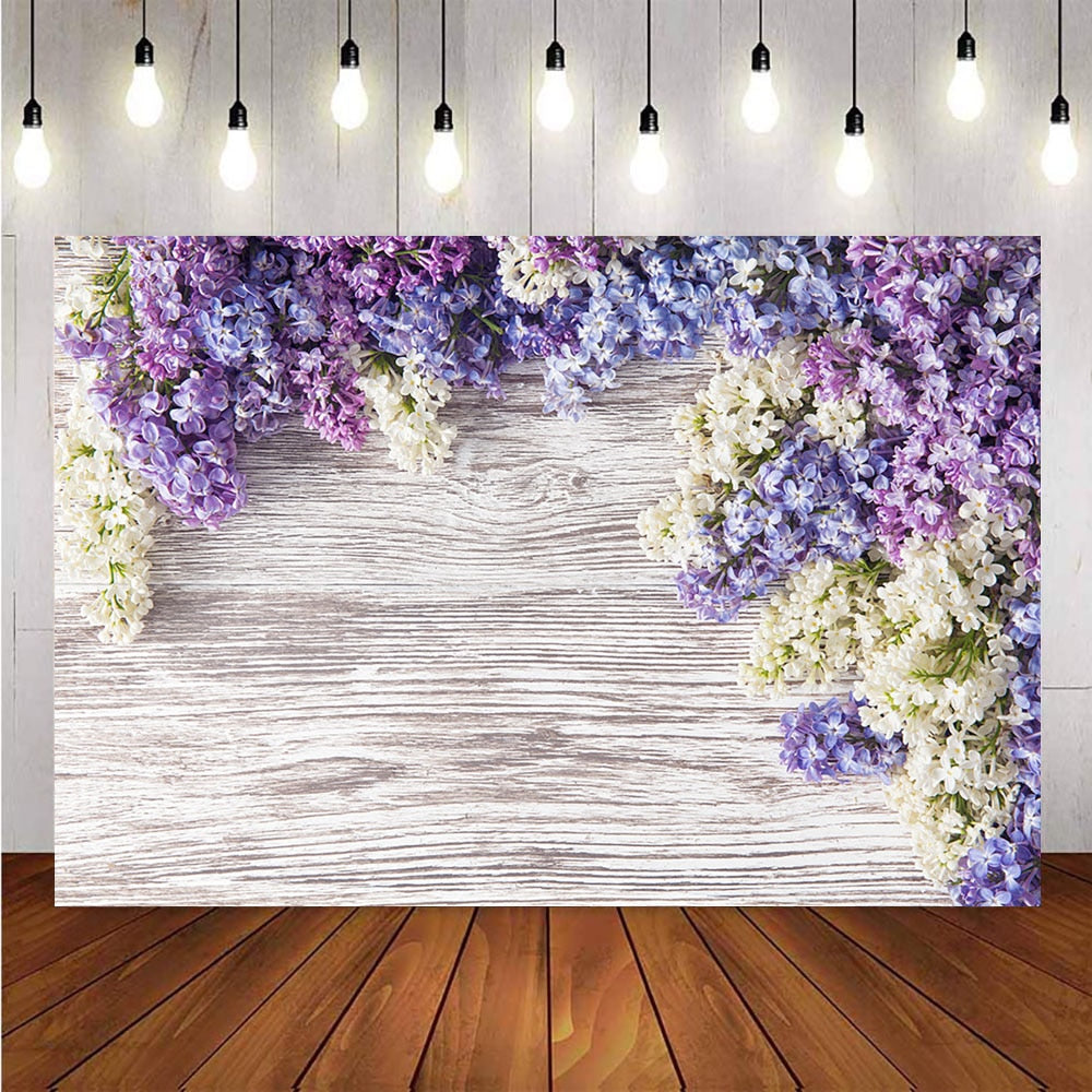 purple flower newborn baby portrait backdrop for photography grey wooden floor background for photo studio vinyl floor supplies