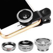 Load image into Gallery viewer, 3 in 1 Mobile Phone Lenses Fish Eye Wide Angle Macro Camera Lens Set Universal Clip Photo Accessory