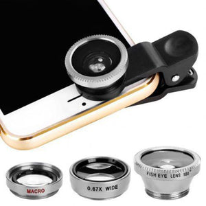 3 in 1 Mobile Phone Lenses Fish Eye Wide Angle Macro Camera Lens Set Universal Clip Photo Accessory