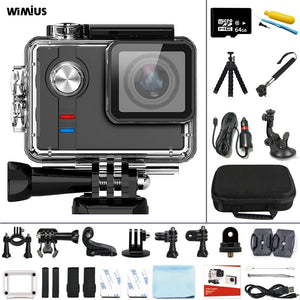 WIMIUS Sports Action Camera 4K 30fps Ambarella 16MP WIFI Action Video Cameras 60m Underwater Waterproof Motorcycle Helmet Camera