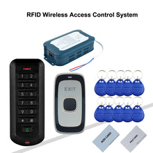 Load image into Gallery viewer, RFID Wireless Access Control System without wiring  access control and exit button connect to power supply by 2.4G wireless way