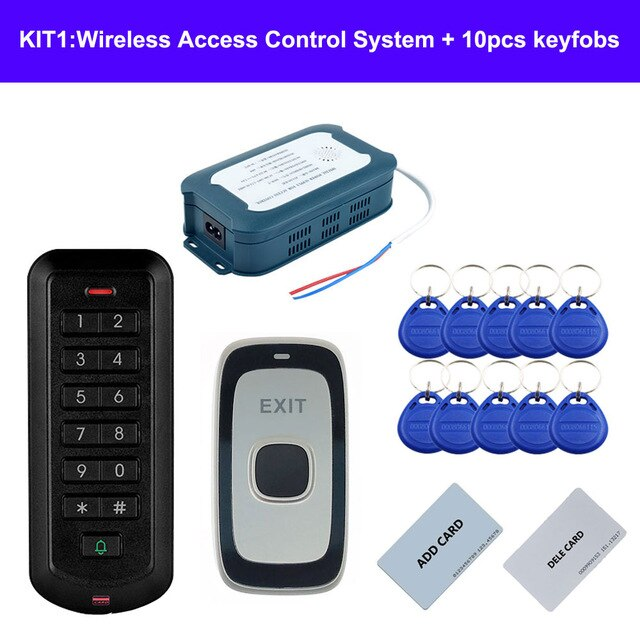 RFID Wireless Access Control System without wiring  access control and exit button connect to power supply by 2.4G wireless way