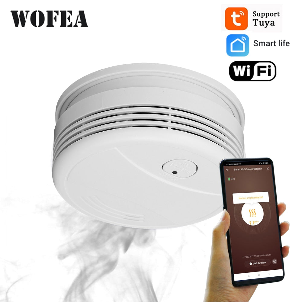 Wofea WiFi Smoke Detector home security Fire Alarm system Tuya smart Smoke Alarm APP message push 95db alarm sound no need hub
