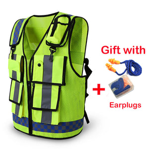 2020 Safety Vest Traffic Warning Road Fluorescent With Pocket High Reflective Vest Breathable Adjustable Safety Equipment Vest