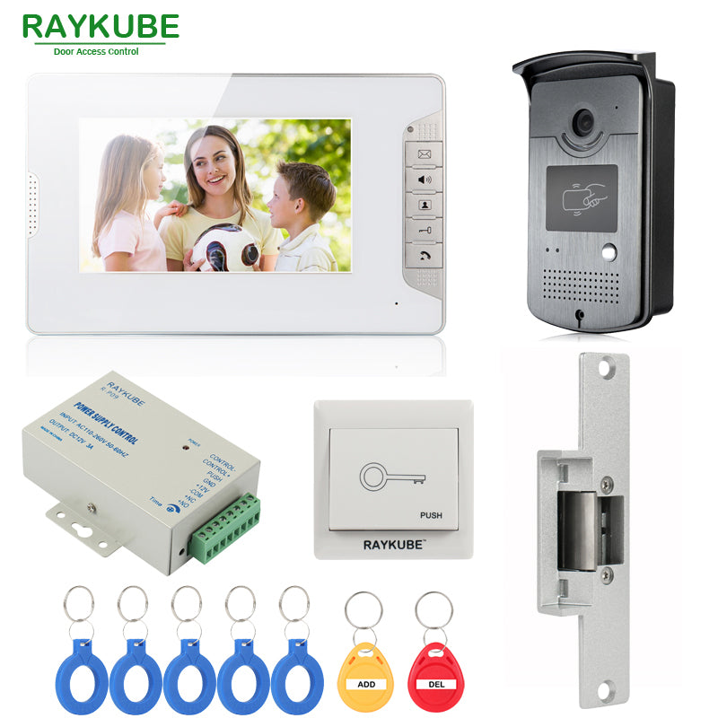 RAYKUBE Wired Video Door Phone Intercom System With 7 Inch LCD Monitor RFID Reader & Camera Electric Strike Door Lock