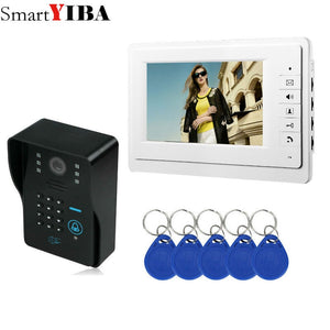 SmartYIBA Video Intercom 7''Inch Monitor Wired Video Door Phone Doorbell Speakephone Intercom Password RFID Camera System