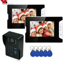 Load image into Gallery viewer, SmartYIBA Video Intercom 7''Inch Monitor Wired Video Door Phone Doorbell Speakephone Intercom Password RFID Camera System