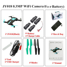 Load image into Gallery viewer, Foldable Mini Selfie Pocket Rc Camera Drone JY018 with Wifi FPV Camera Altitude Hold Headless Mode RC Helicopter VS JJRC H37
