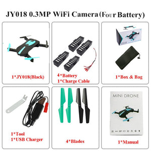 Foldable Mini Selfie Pocket Rc Camera Drone JY018 with Wifi FPV Camera Altitude Hold Headless Mode RC Helicopter VS JJRC H37