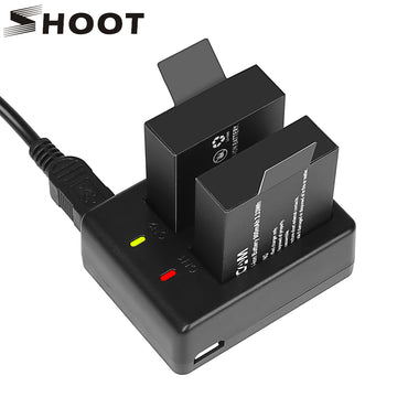 Dual Port Battery Charger with 2pcs 900mAh Battery for Sjcam