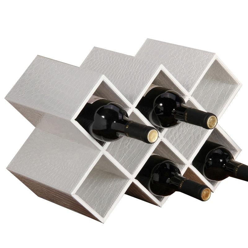 PU Leather Wine Rack