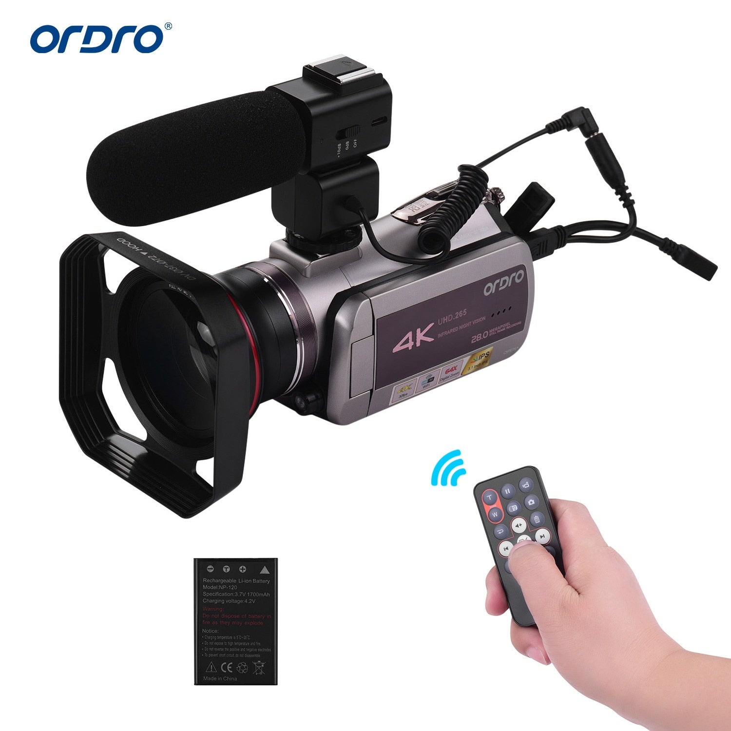 ORDRO Photography Real 4K UHD 30FPS WiFi Digital Video Camera