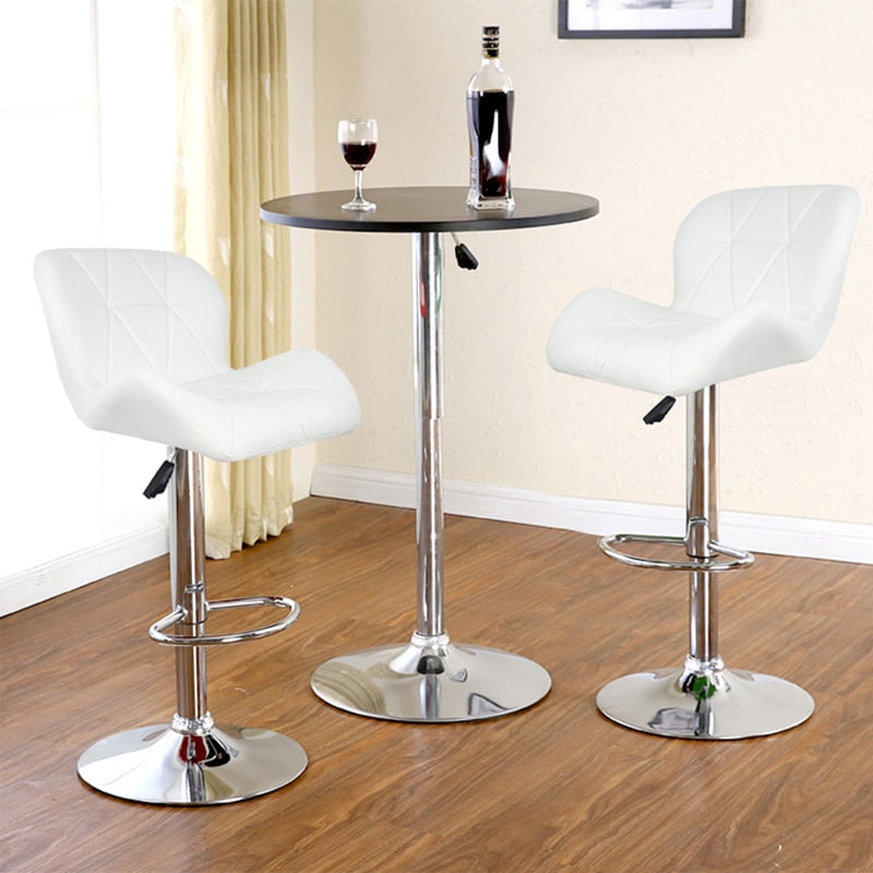 JEOBEST 2 Pieces Leisure Synthetic Leather Swivel Bar Stools