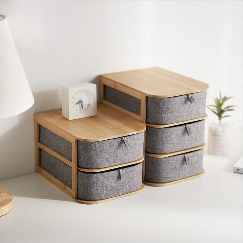 Bamboo Wood Gray Storage Drawer