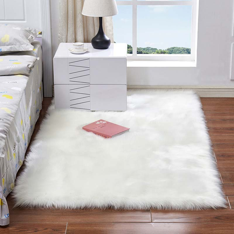 Rectangle Soft Faux Sheepskin Fur Area Rug