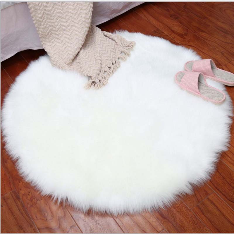 Round Soft Faux Sheepskin Fur Area Rug