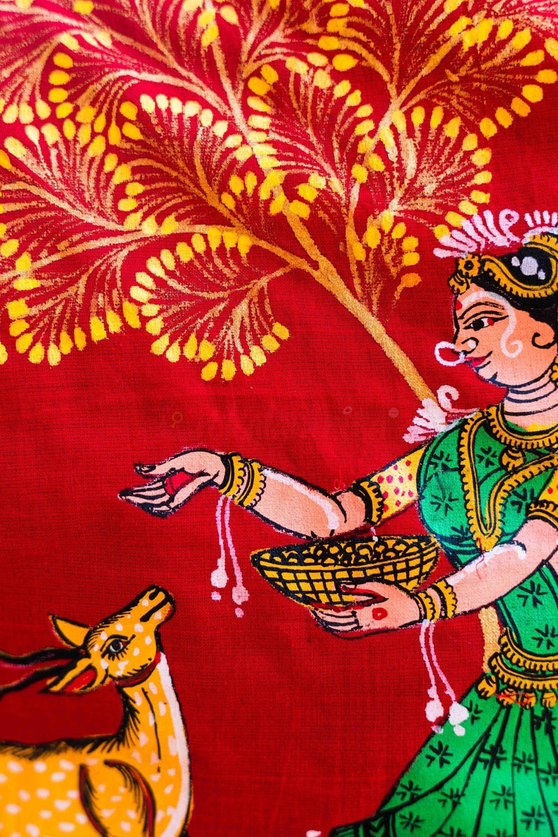 Red Shakuntala and Deer Pattachitra (Blouse)
